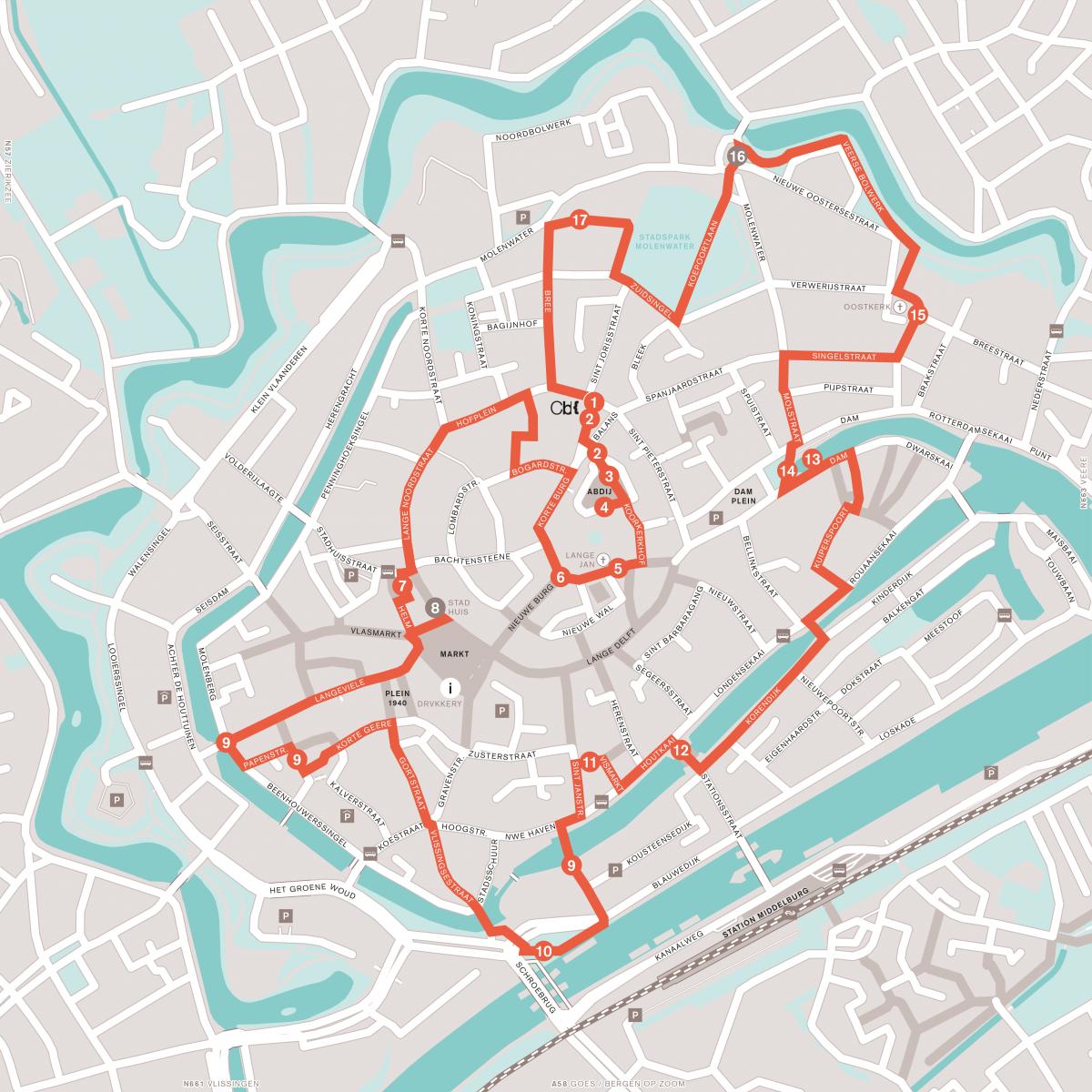 plattegrond wandelroute